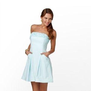 Lilly Pulitzer Ferra Shorely Blue Strapless Dress